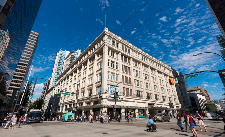 The Bay in downtown Vancouver is a great stop on a shopping walking tour and serves as one of the store's flagship locations. Located at Granville Street, The Bay is connected to Pacific Centre Mall.