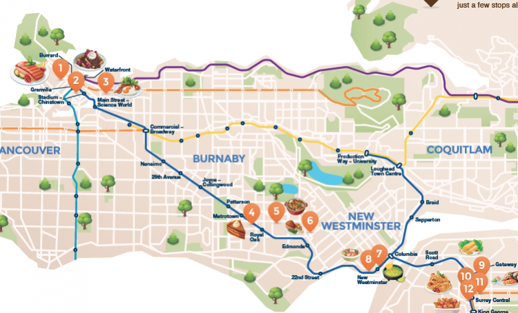 Map Of Canada Line Vancouver.New Maps Outline Skytrain Food Crawls Across Metro Vancouver